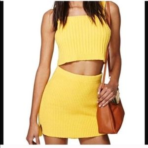 NWOT NASTY GAL BT YELLOW 2PC CROP SKIRT SET M
